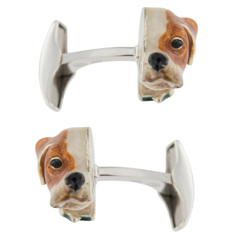 Men's Jona Sterling Silver English Pointer Dog Cufflinks with Enamel For Sale