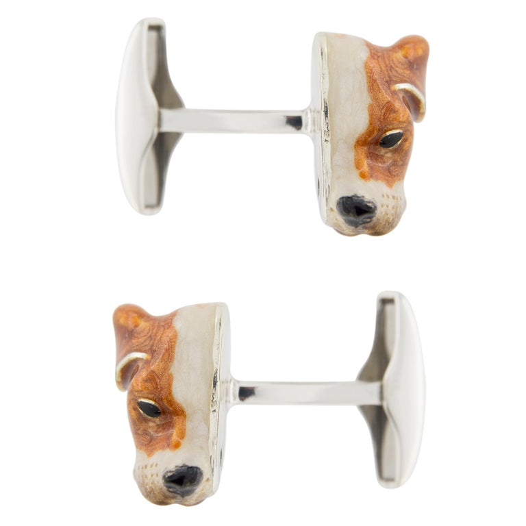 Jona Sterling Silver English Pointer Dog Cufflinks with Enamel For Sale 1