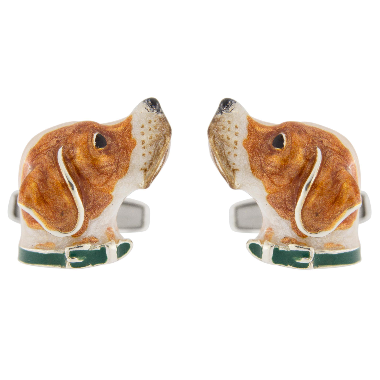 Jona Sterling Silver English Pointer Dog Cufflinks with Enamel