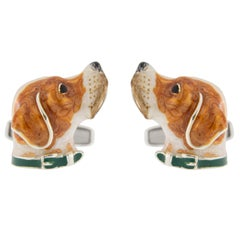 Jona Sterling Silver English Pointer Dog Cufflinks with Enamel