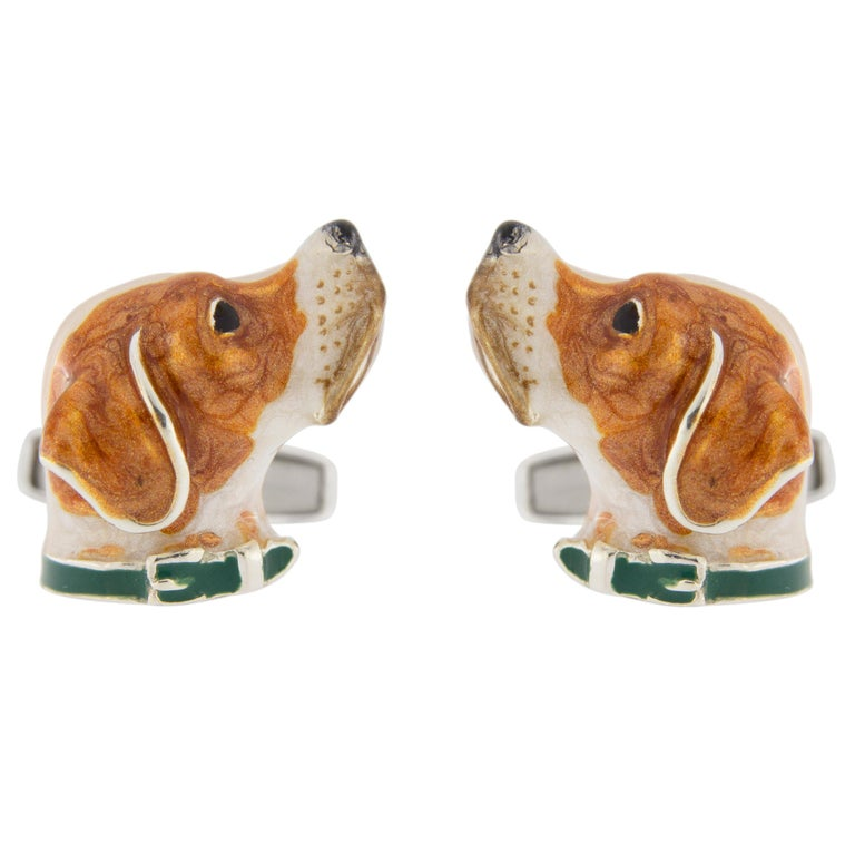 Jona Sterling Silver English Pointer Dog Cufflinks with Enamel For Sale