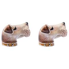 Jona Sterling Silver Fox Terrier Dog Cufflinks with Enamel