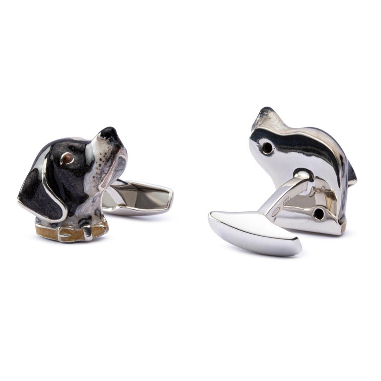 Jona Sterling Silver French Pointer Dog Cufflinks with Enamel In New Condition For Sale In Torino, IT