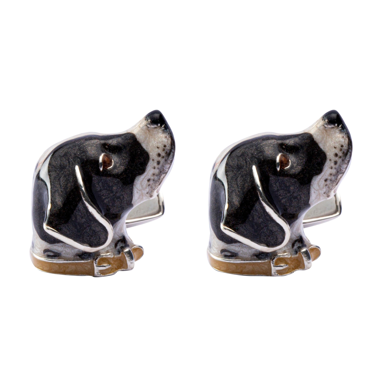 Jona Sterling Silver French Pointer Dog Cufflinks with Enamel