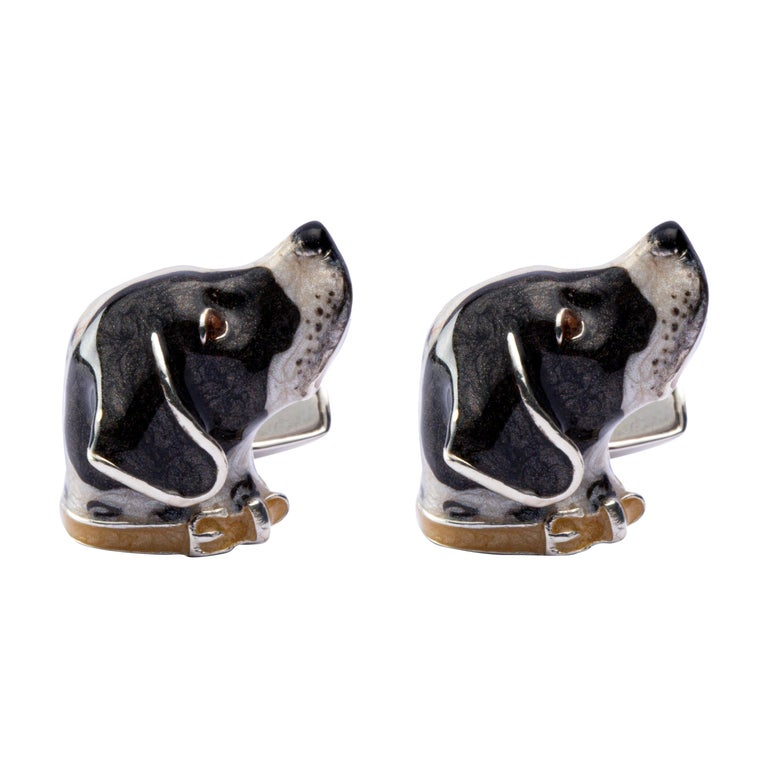 Jona Sterling Silver French Pointer Dog Cufflinks with Enamel For Sale