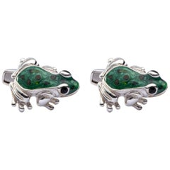 Jona Sterling Silver Frog Cufflinks with Enamel