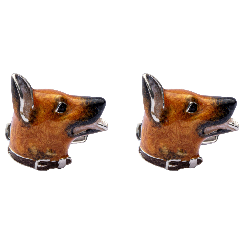 Jona Sterling Silver German Sheperd Dog Cufflinks with Enamel