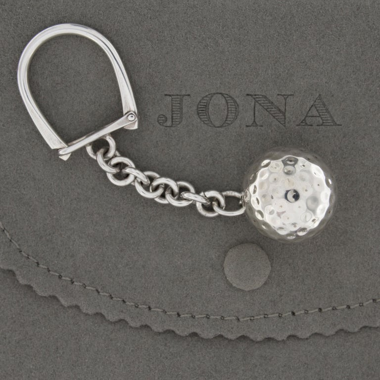Jona design collection, hand crafted in Italy, rhodium plated Sterling Silver Golf Ball key holder. Ball Dimension : Diameter 0.91 in / 23.19 mm All Jona jewelry is new and has never been previously owned or worn. Each item will arrive at your door