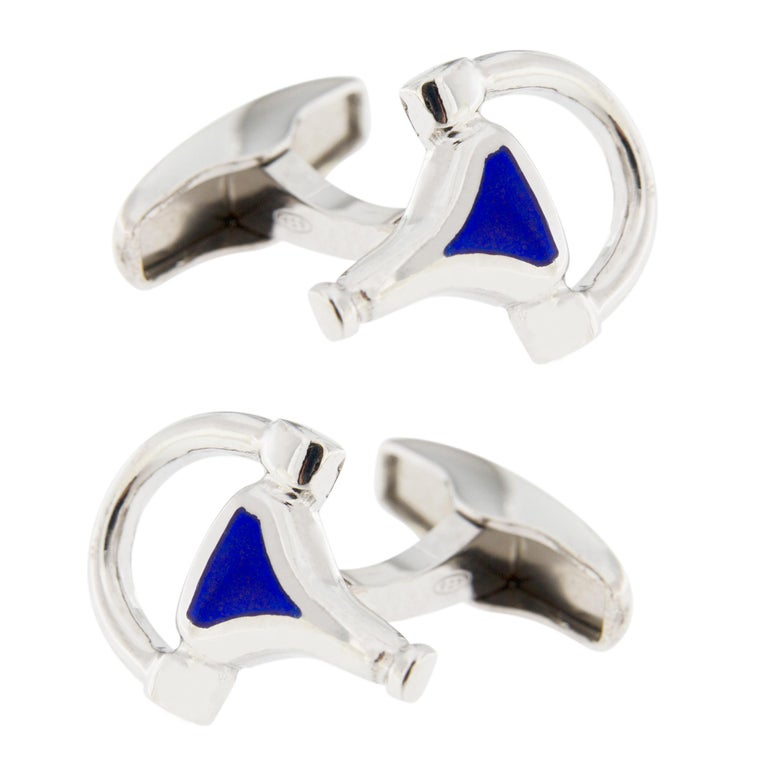 Jona Sterling Silver Horse Bit Cufflinks In New Condition For Sale In Torino, IT