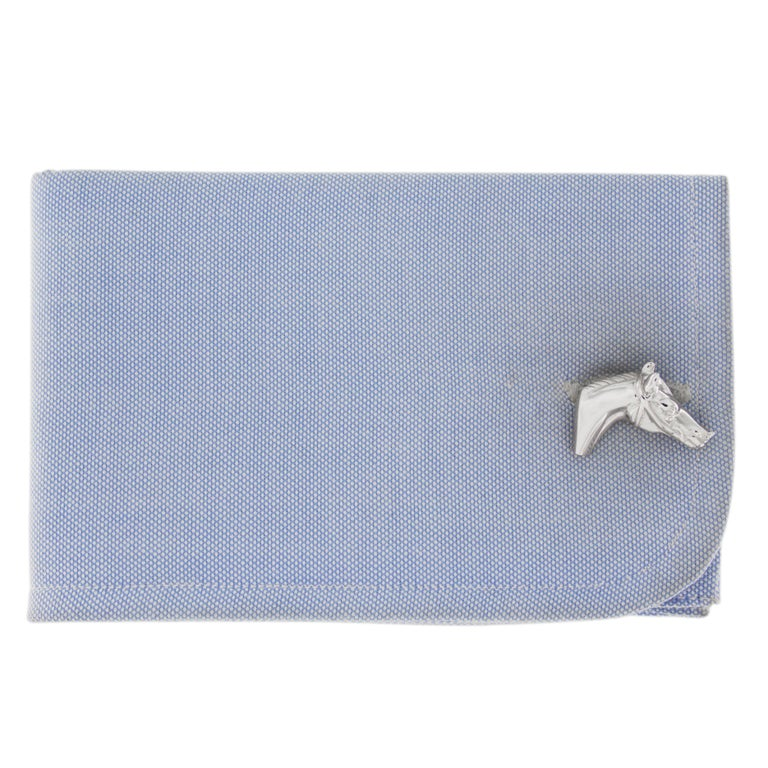 Jona design collection, hand crafted in Italy, rhodium plated sterling silver horse head cufflinks. Marked JONA 925.  All Jona jewelry is new and has never been previously owned or worn. Each item will arrive at your door beautifully gift wrapped in