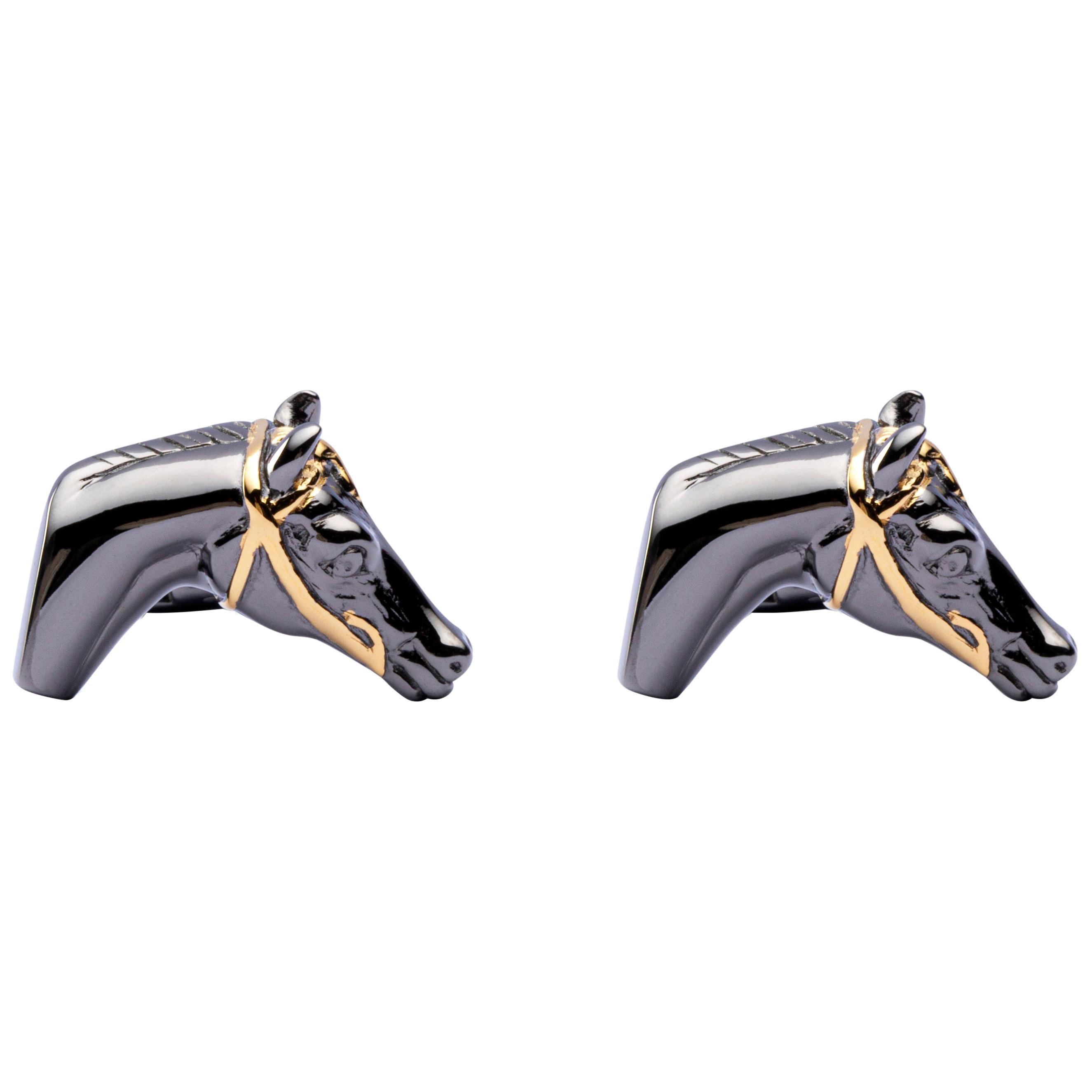 Jona Sterling Silver Horse Head Equestrian Cufflinks