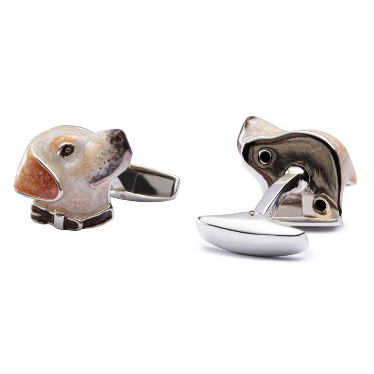Jona Sterling Silver Labrador Dog Cufflinks with Enamel In New Condition For Sale In Torino, IT