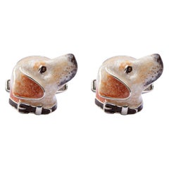 Jona Sterling Silver Labrador Dog Cufflinks with Enamel