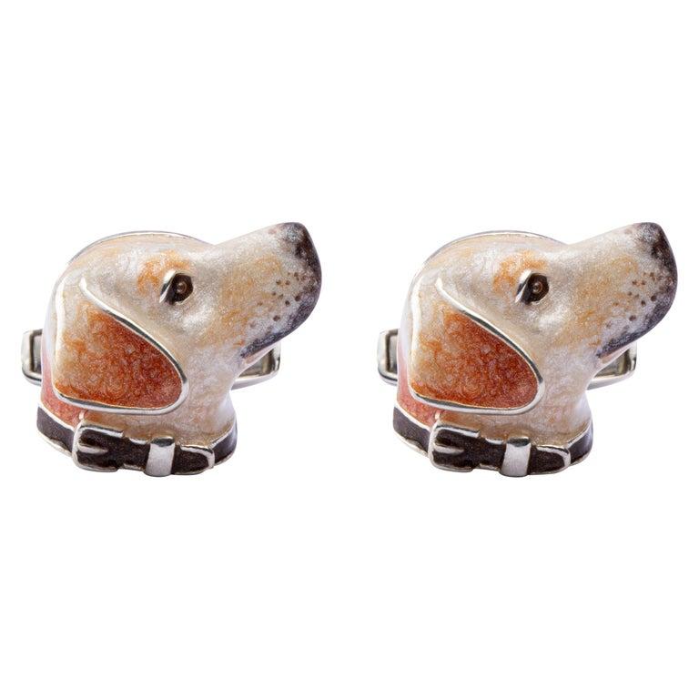 Jona Sterling Silver Labrador Dog Cufflinks with Enamel For Sale
