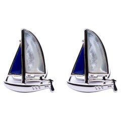 Jona Sterling Silver Mother of Pearl Lapis Sail Boat Cufflinks