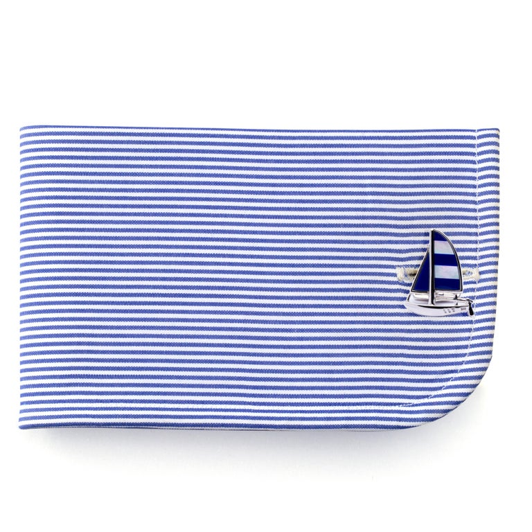 Jona design collection, hand crafted in Italy, Sterling silver sailboat cufflinks with mother of pearl and lapis.   All Jona jewelry is new and has never been previously owned or worn. Each item will arrive at your door beautifully gift wrapped in