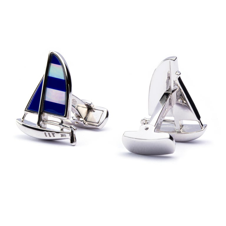 Jona Sterling Silver Mother of Pearl Lapis Sailboat Cufflinks In New Condition For Sale In Torino, IT