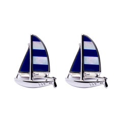 Jona Sterling Silver Mother of Pearl Lapis Sailboat Cufflinks
