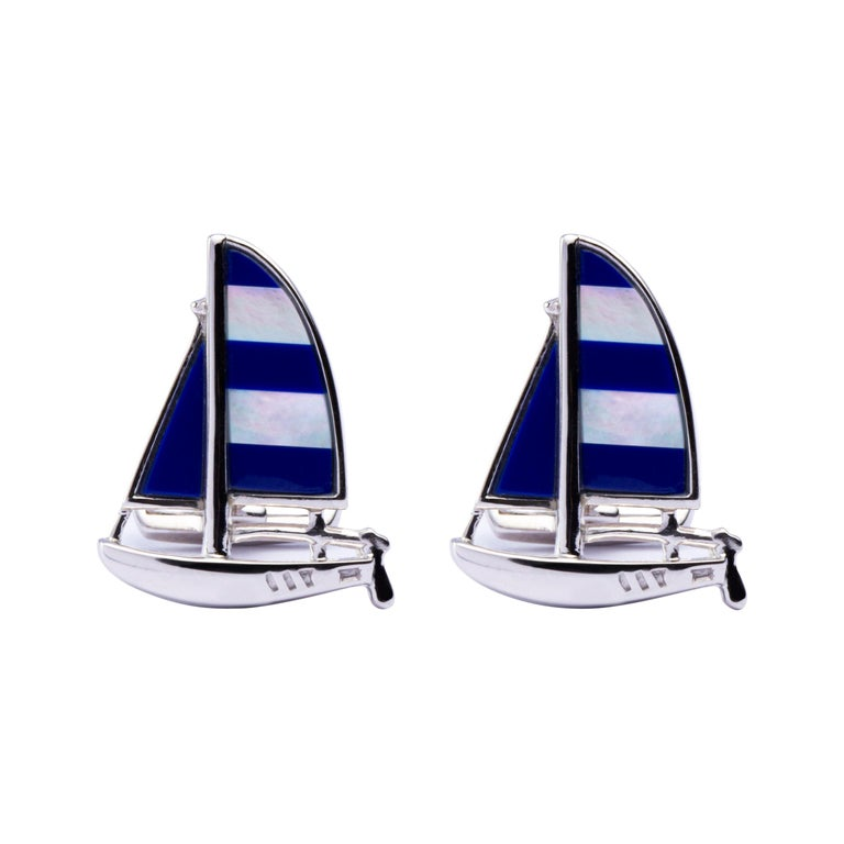 Jona Sterling Silver Mother of Pearl Lapis Sailboat Cufflinks For Sale