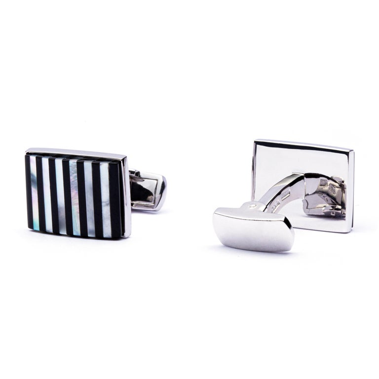 Baguette Cut Jona Sterling Silver Onyx and Mother of Pearl Cufflinks For Sale