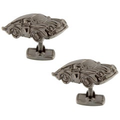 Jona Sterling Silver Porsche Cufflinks Ruthenium-Finish