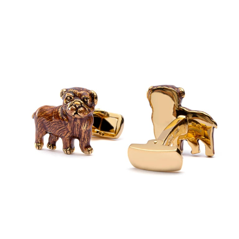 Jona Sterling Silver Pug Dog Cufflinks with Enamel In New Condition For Sale In Torino, IT