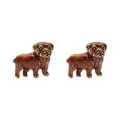 Jona Sterling Silver Pug Dog Cufflinks with Enamel