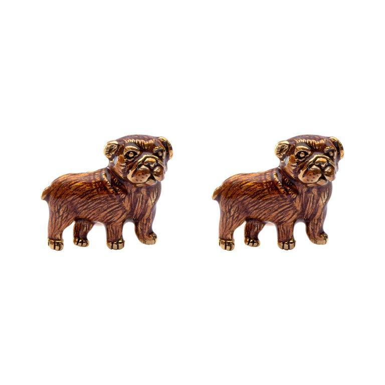 Jona Sterling Silver Pug Dog Cufflinks with Enamel For Sale