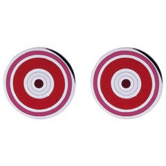 Jona Sterling Silver Red and Pink Enamel Cufflinks