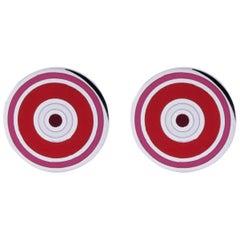 Jona Sterling Silver Red Pink Enamel Cufflinks