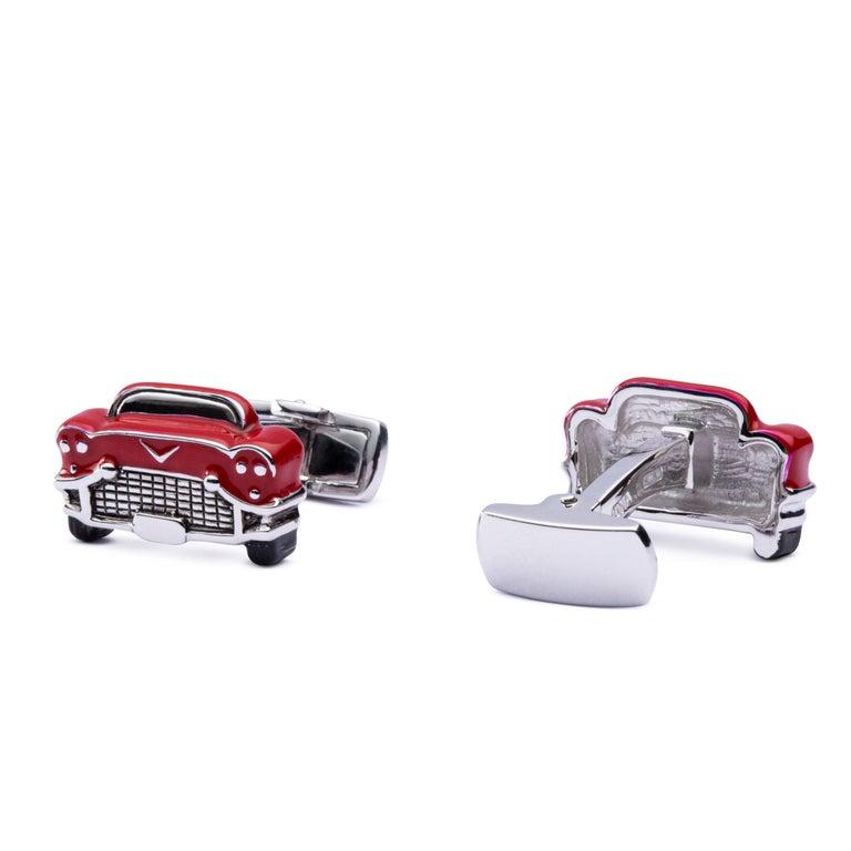 Jona Sterling Silver Red Enamel Chevrolet Car Cufflinks In New Condition For Sale In Torino, IT