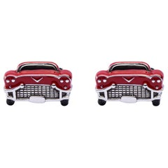 Jona Sterling Silver Red Enamel Chevrolet Car Cufflinks