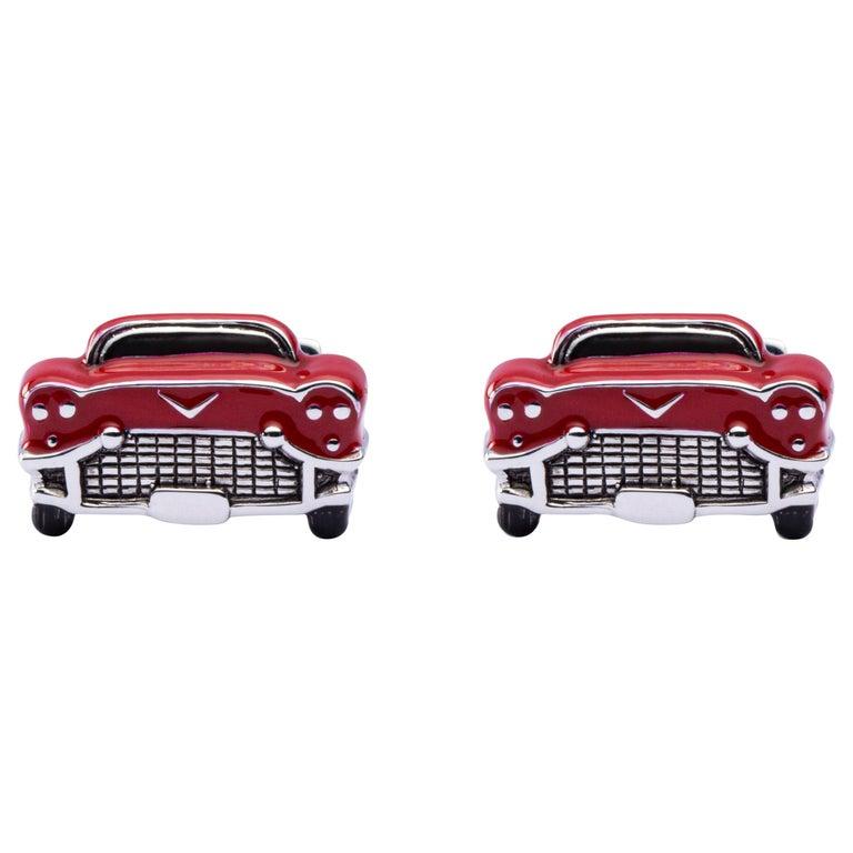 Jona Sterling Silver Red Enamel Chevrolet Car Cufflinks For Sale