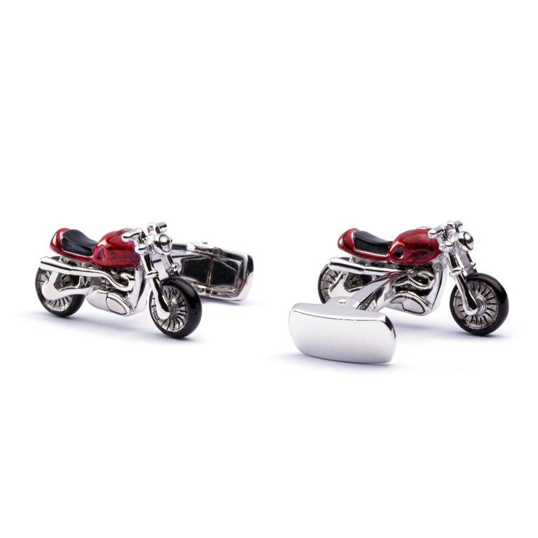 Jona Sterling Silver Red Enamel Onyx Motorcycle Cufflinks In New Condition In Torino, IT