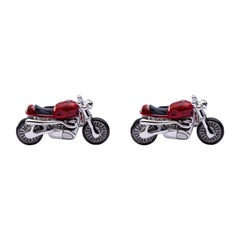 Jona Sterling Silver Red Enamel Onyx Motorcycle Cufflinks