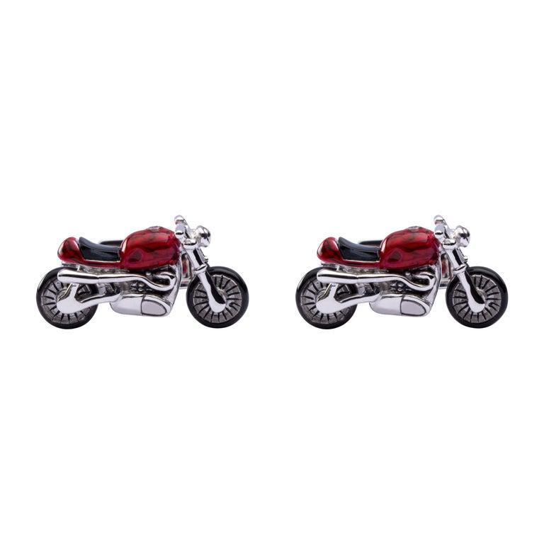 Jona Sterling Silver Red Enamel Onyx Motorcycle Cufflinks