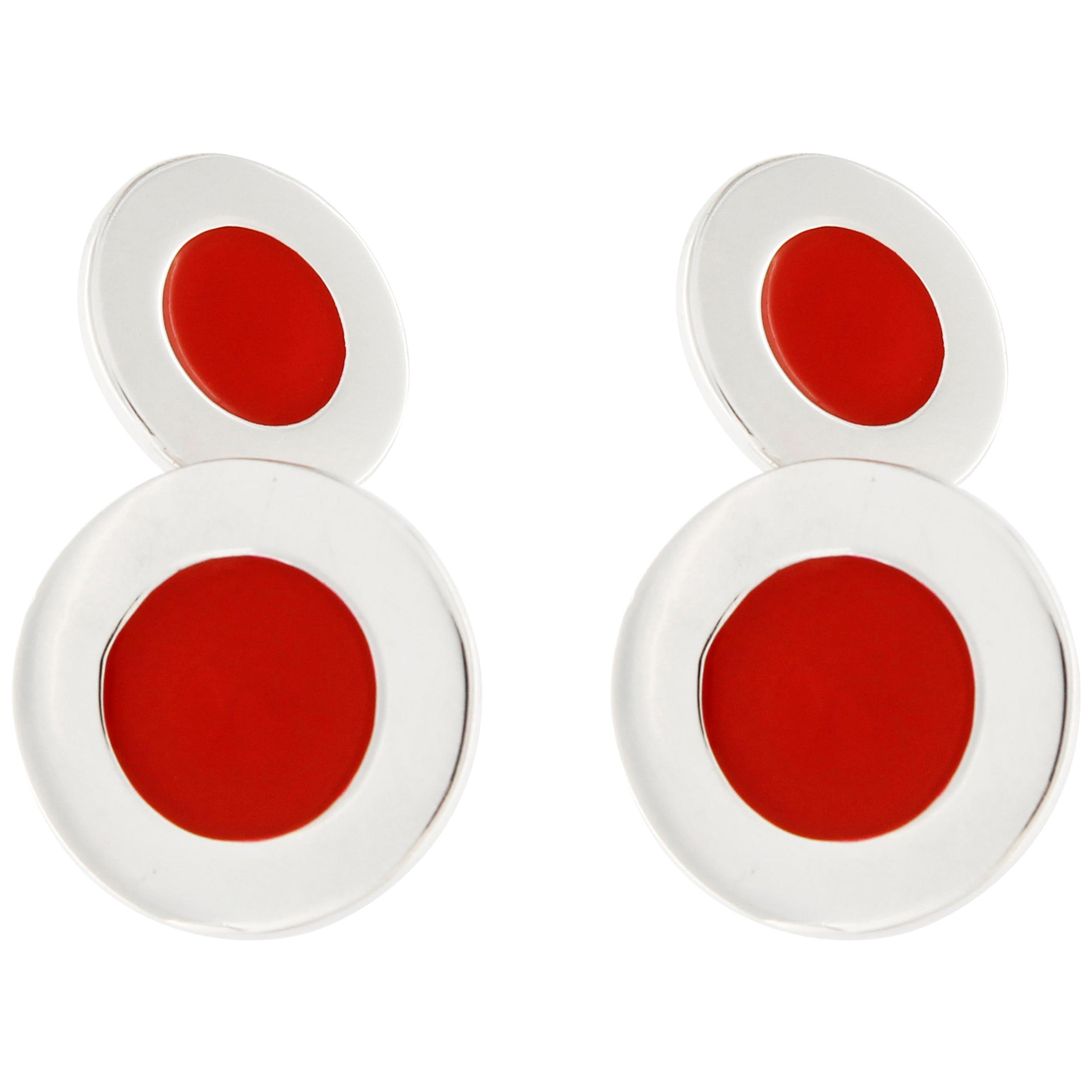 Jona Sterling Silver Red Enameled Cufflinks