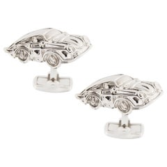 Jona Sterling Silver Rhodium-Plated Porsche Cufflinks