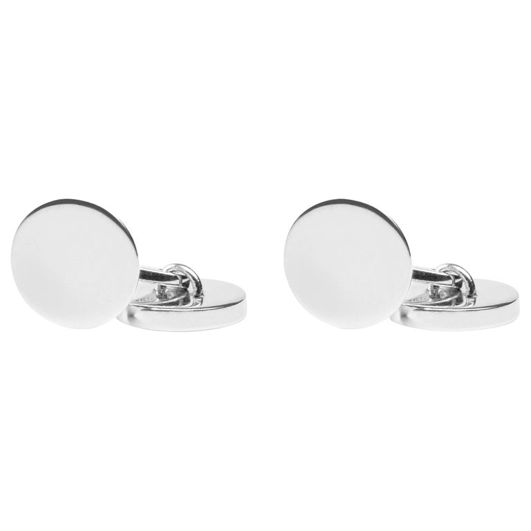 Jona Sterling Silver Round Plain Cufflinks For Sale