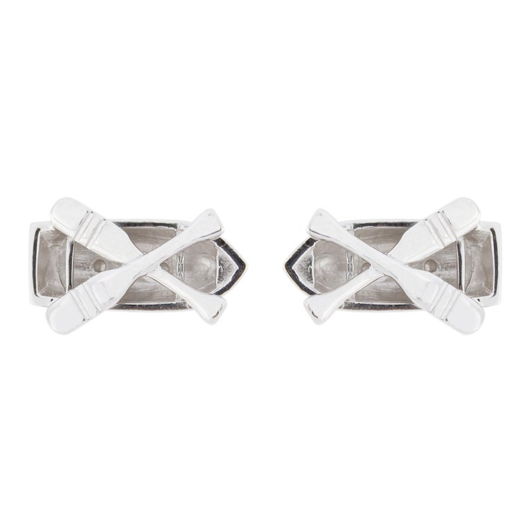 Jona design collection, hand crafted in Italy, Sterling Silver rowing boat cufflinks with toggle back. Marked JONA 925.    DIMENSIONS: 0.82 in L x 0.51 in W x D 0.25 in  20 mm L x 13 mm W x D 6.55 mm All Jona jewelry is new and has never been