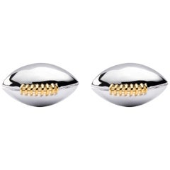 Jona Sterling Silver Rugby Ball Cufflinks