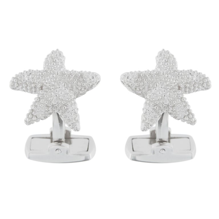 Jona Sterling Silver Starfish Cufflinks In New Condition For Sale In Torino, IT