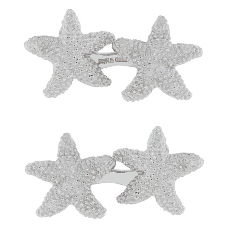 Jona Sterling Silver Starfish Cufflinks For Sale