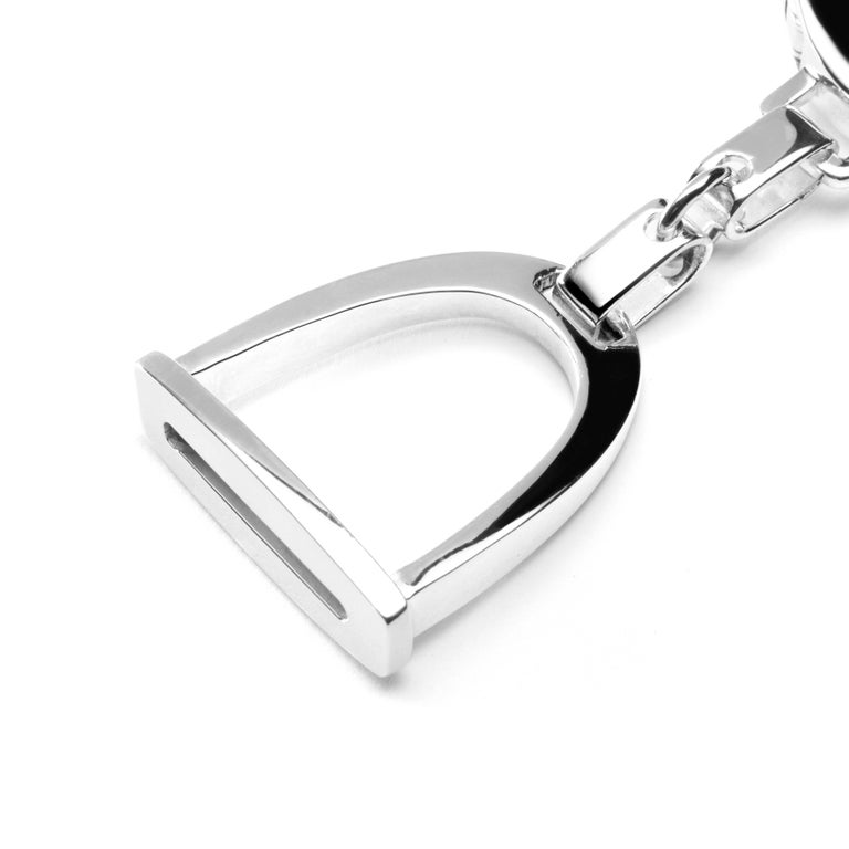 Jona design collection, hand crafted in Italy, rhodium plated sterling stirrup key holder. Dimensions : L x 3.44 in/ 87.60 mm - W x 1.05 in/ 26.81 mm. All Jona jewelry is new and has never been previously owned or worn. Each item will arrive at your