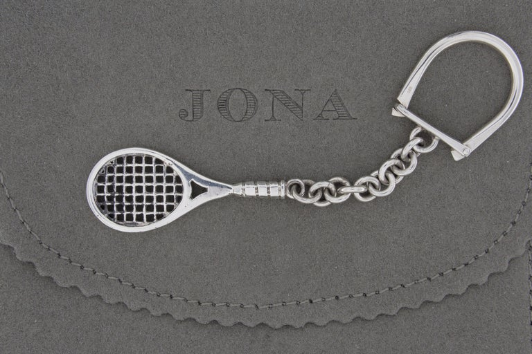 Jona design collection, hand crafted in Italy, Sterling Silver Tennis Racket key holder. Racket Dimensions : L 21.09 in / 53.57 x W 0.85 in / 21.75 mm x Depth: 0.11 in / 2.99 mm All Jona jewelry is new and has never been previously owned or worn.