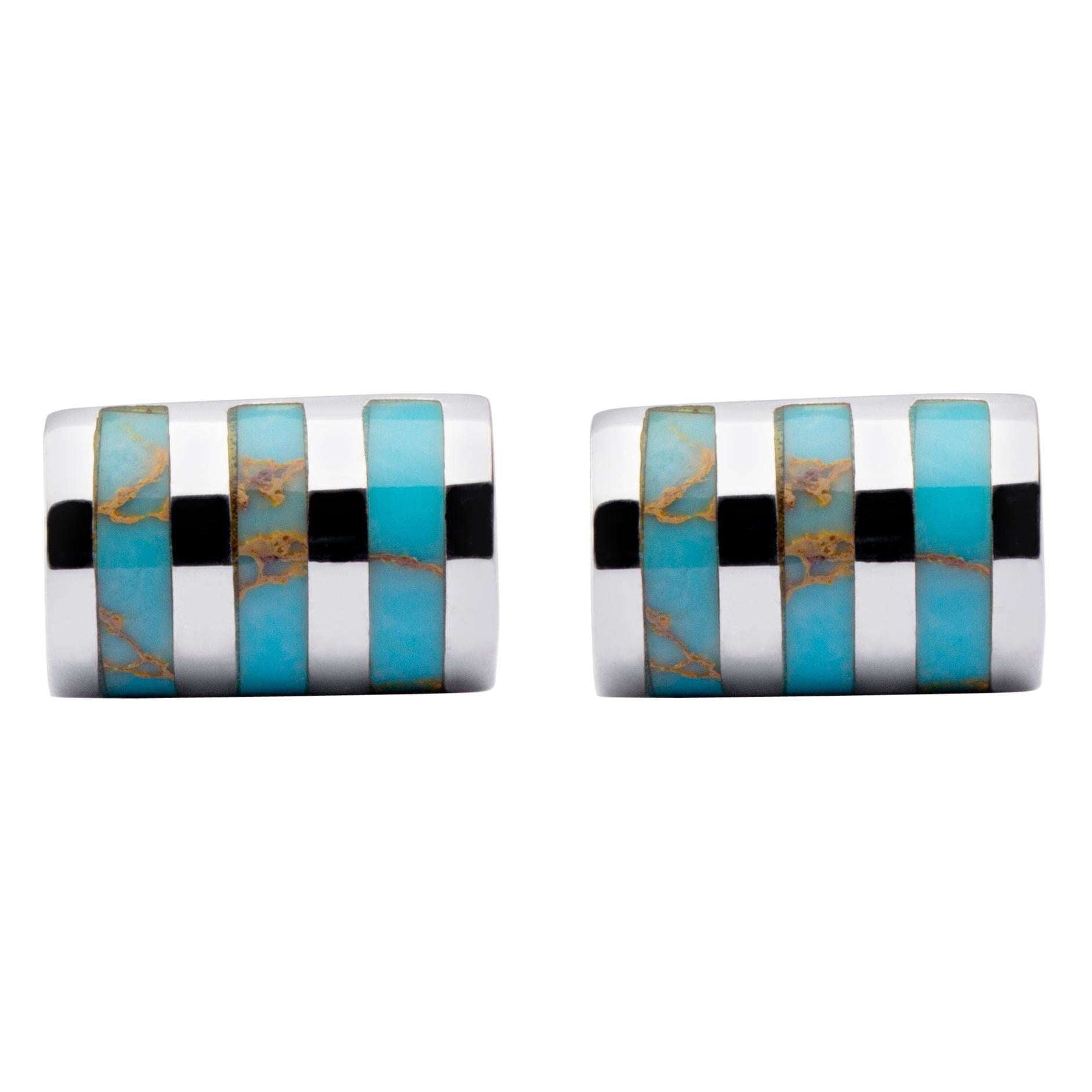 Jona Sterling Silver Turquoise Bar Cufflinks