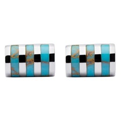 Jona Sterling Silver Turquoise Bar Cufflinks