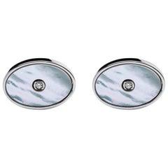 Jona Sterling Silver White Diamond Cufflinks