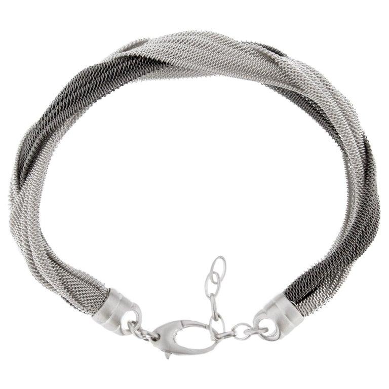 Jona Sterling Silver Woven Bracelet For Sale 2