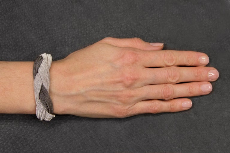Jona Sterling Silver Woven Bracelet For Sale 3